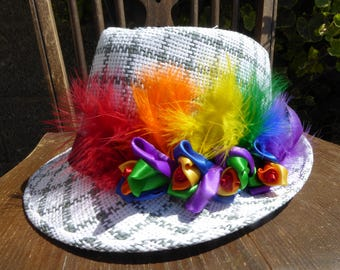 Fabulous Limited Edition Rainbow Rose Bud & Feather White Trilby Hat