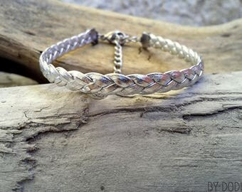 Leather bracelet braided 1 link silver Boho jewelry By Dodie