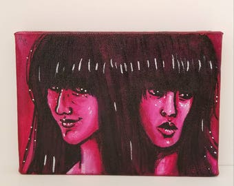 "Acrylic Painting --- ""Tomie Twinsies"" --- 5x7 --- Stretched Cotton Canvas"