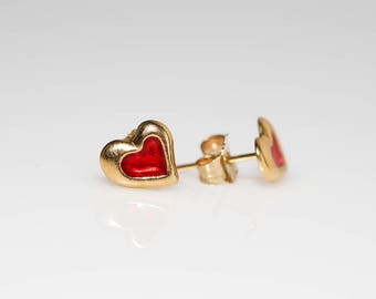 Red Heart of Gold Earrings
