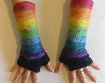 Chakra Felted Fingerless Gloves