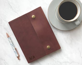 Monogrammed Leather Journal with Lined Paper, Handcrafted Genuine Leather Notebook; Personalized Gift for Women; Devotional Journal; S28