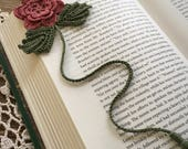 Crochet flower bookmark, tea rose flower, pine green leaves, unique book lover gift, ready to ship