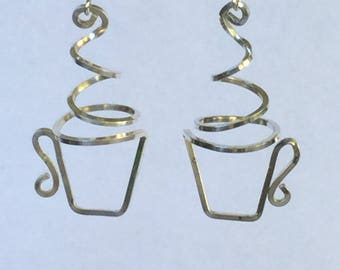 Coffee or tea cup earrings, sterling, copper