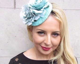 Turquoise Mint Green Rose Flower Fascinator Hat Wedding Hair Clip Races 3359