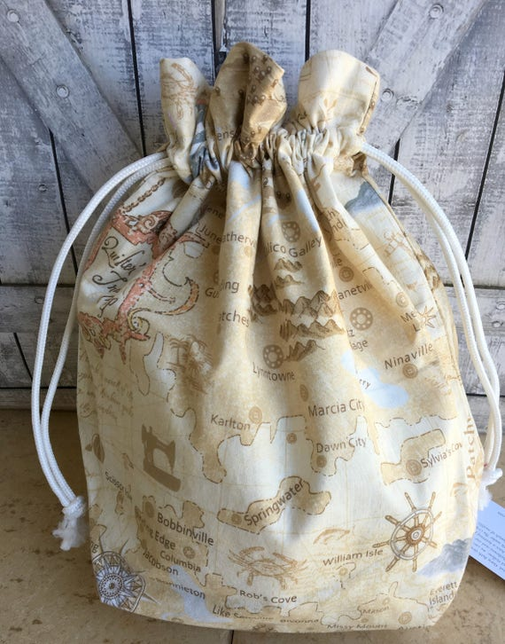 Knitting Project Bag|Quilters Travelers Map Drawstring Project Bag|Crochet Project Bag|Knitting Bag|Crochet Bag|Toad Hollow Bag