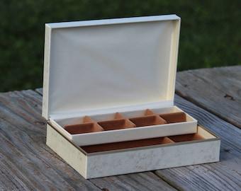 Cream/Off-White Vinyl Rectangle Jewelry Box