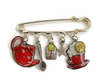 Brooch pin silver tea time