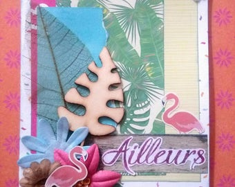 """Dual """"Elsewhere"""" scrappee in tropical and exotic theme with flamingos"""