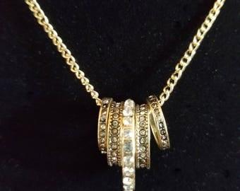 Rhinestone Ring Necklace, Multiple Ring Necklace, One of a Kind, Five Ring Necklace, Ring Pendant Necklace, Gold, MarjorieMae