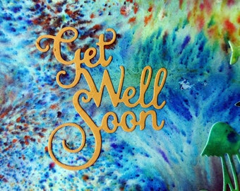 Underwater ocean get well card with marine life cutout