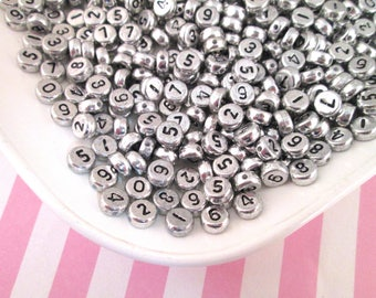 100 Silver and Black 7mm Number Beads, Acrylic Metallic Number Beads #1038