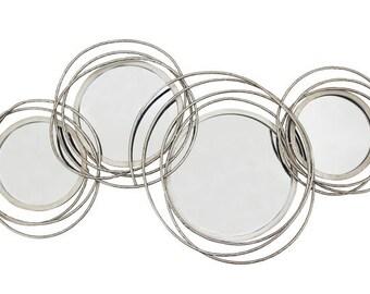 104cm Metal Silver 4 Round Swirls Mirror Large Home Decor Circles Wall Art Decor