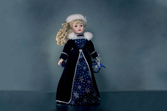 Porcelain Doll, Victorian Garden, Alexis Holiday Doll, 2002 Collectible Doll, Dark Purple Velvet, White Fur, 16 Inch, Display Doll