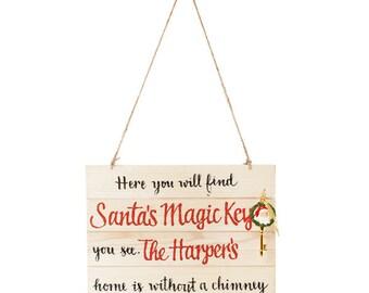 Santa's Magic Key Wood Plaque