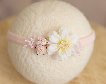 Newborn Flower Headband, Pink and White Baby Headband, Baby girl Photo prop, Ready to ship, Fits newborn to child, also available as tieback