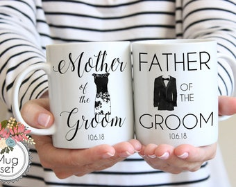 Father and Mother of the Groom Mug Set, Wedding Gift for Parents, Bridal Party Mugs, Set Wedding Mugs, Father of the Groom Mug, Floral Mug