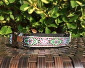 """Celtic Dog Collar - 3/4"""" Pink, Green and Silver Adjustable Dog Collar with Metal Buckle and Black Nylon Webbing"""