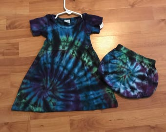 Tie-Dye Infant Dress -  Baby Dress and Bloomers (3 months)