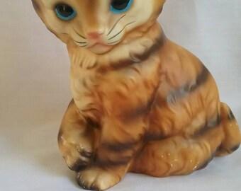 Vintage Kitten Figurine, Striped Tabby, Japan, Blue Eyes