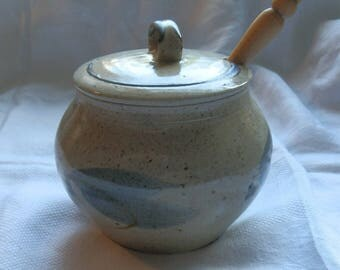 Vintage Brown Flecked and Grey Stoneware Honey Pot and Lid with Turned Wooden Server / Dipper