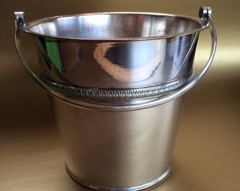 Vintage Silverplate Ice Bucket Barware Mid Century Hallmarked Cooler