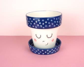 Ceramic Planter | Rosie | Hand painted Ceramic Pot