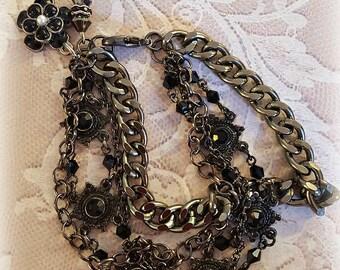 Assemblage Black Chain Bracelet, Chunky Black Chains, Vintage Black Bracelet, Swarovski Crystal Beads, Repurposed and Upcycled Jewelry