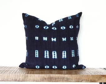 """Indigo & White African Mudcloth Pillow cover, Mud cloth Cushion, Navy  tribal throw pillow, 20"""" accent pillow, Mali mudcloth, hand dyed Blue"""