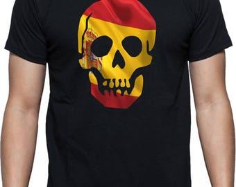 Spanish Flag Skull T-Shirt - Espanol , Spain, Various Sizes