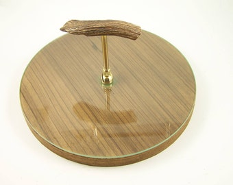 Round vintage wood and glass cheese board with horn handle   Tableware Made in France in 1960