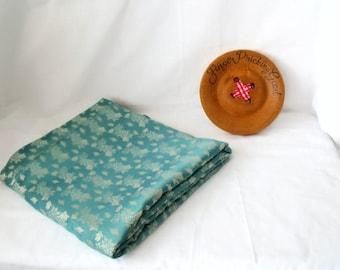"""material oriental, tela de brocado verde, remanente no utilizado, muebles, artesanías, ropa, 90 """"x 44"""" defectuosa"""
