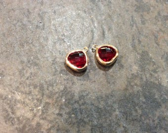 Ruby Red bezel set faceted glass charms Package of 2 gold finish charms