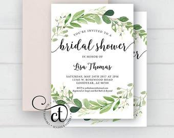 Greenery bridal shower invitation, garden Bridal Shower, bridal shower invitation with greenery, boho bohemian, Bridal Shower invite, Floral