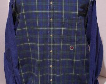 90s Tommy Hilfiger Blue Denim Plaid Long Sleeve Button Down Shirt Size Large