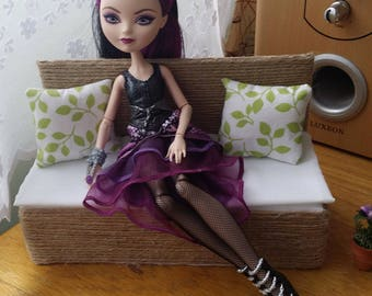 Doll Sofa with two pillows for Barbie, Fashion Royalty, Ever After High, Bratz, Pullip, Monster High and other 12 in. Dolls