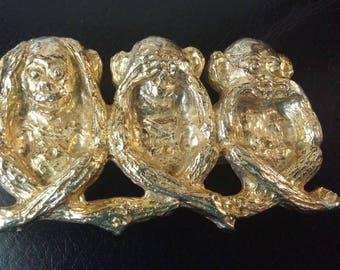 3 Wise Monkeys Belt Buckle