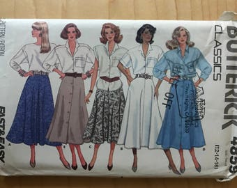 Butterick 4859 - 1980s Fast and Easy Classics Half Circle and Flared Skirt with Button Front and Pleat Options - Size 12 14 16