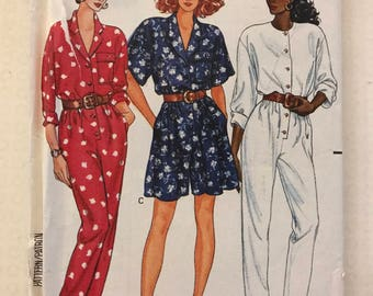 Butterick 3508 - 1980s Fast and Easy Jumpsuit or Romper with Blouson Bodice - Size 8 10 12