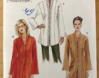 Vogue V7854 - Button Front Tunic with Princess Seams in Mid Thigh or Knee Length - Size 20 22 24