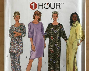 Simplicity 9938 - 1 Hour Pajama Collection with Nightgown or Top with Optional Funnel Neck, and Bottoms - Size XS S M