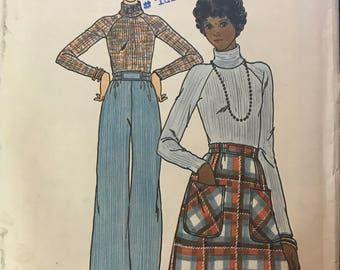 Butterick 4441 - 1970s Fast and Easy Turtleneck Top with Raglan Sleeves, A-Line Skirt, and Straight Legged Pants - Size 12 Bust 34