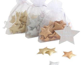 Glitter stars table confetti in Gold Silver and Copper, Fabric Glitter Re-Usable Christmas Table Confetti, Ribbon Fabric Glitter Party Table