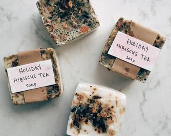 All Natural - Holiday Hibiscus Tea Soap - Shea Butter Soap - Artisan Bar Soap - Homemade Soap - Moisturizing Soap