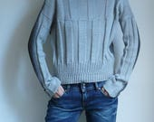 gray bamboo wool knit pullover, two shades of grey