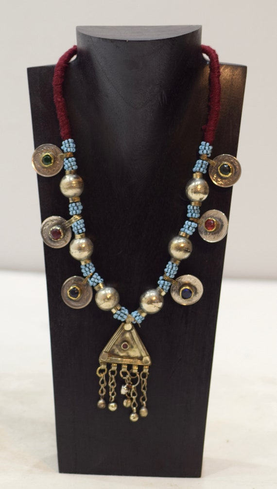"""Necklace Middle East Blue Beaded Silver Pendant Kuchi Necklace 24"""""""