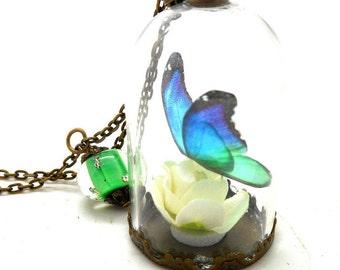 Necklace glass globe blue butterfly green, spun green beads
