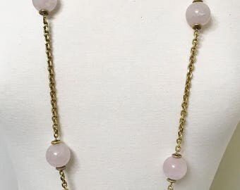 Beautiful Iradj Moini Rose Quartz Long Gold Plated Chain Necklace 44""