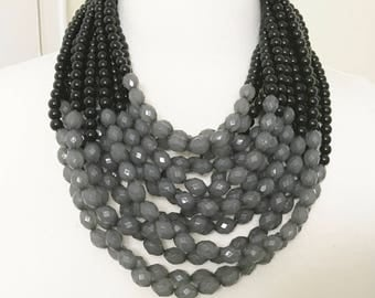 Gorgeous Black & Gray Multi Strand Resin Beads Statement Necklace