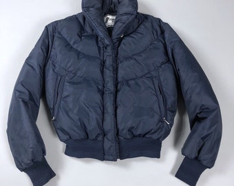 Vintage 80s Comfy Ski USA Womens Navy Blue Puffer Down Coat Jacket Size 10/Fits Small 4